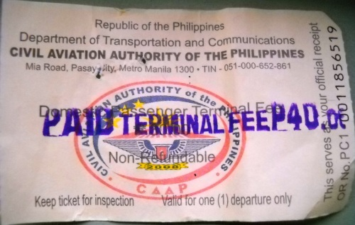 """Puerto Princesa"" Airport Terminal Fee Ticket"