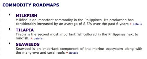 """BFAR """"Commodity Roadmaps"""" Bangus Milkfish Tilapia Seaweeds"""