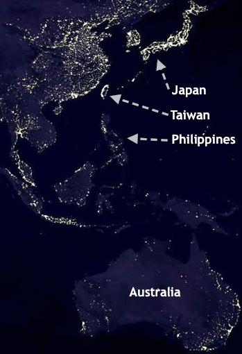 """""""East Asia"""" Australia Phlippines """"Night-time"""""""