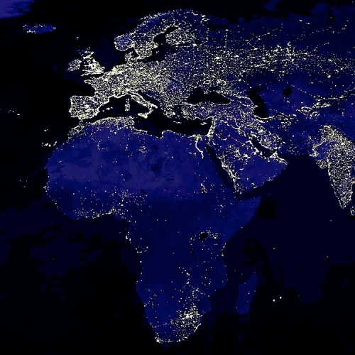 Europe Africa NIght-time Nighttime Image Earth