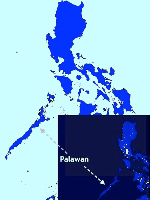 """Philippines Map"" Palawan Night-time Image"