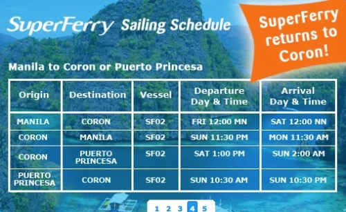 "SuperFerry ""Sailing Schedule"" Palawan"