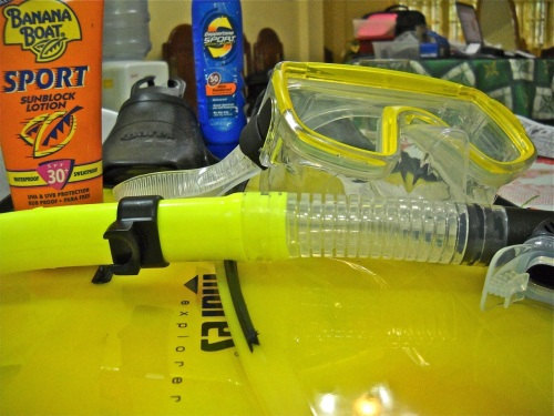 """Cuyo Preparation"" Snorkeling Gear Mask Snorkel Fins ""Sun Block"""