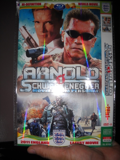 """Arnold Schwarzenegger is the theme of this pirated copy. It contains a staggering 28 movie clips."" retirednoway"