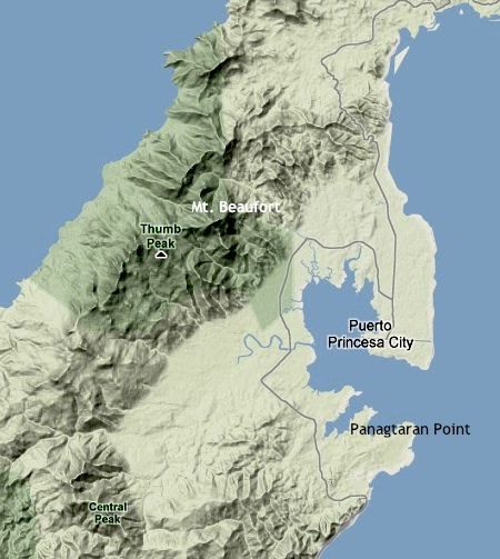 """Thumb Peak and Mt. Beaufort relative to the city proper of Puerto Princesa"" retirednoway"
