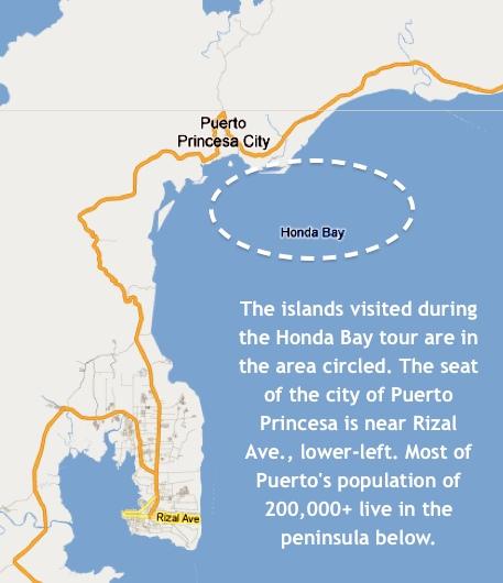 """Honda Bay's location relative to Puerto Princesa City's peninsula"" retirednoway"