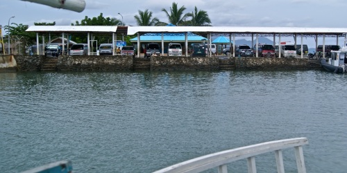 """Wharf of Barangay Santa Lourdes. This is where land vehicles park and tourists hire boat services."" retirednoway"