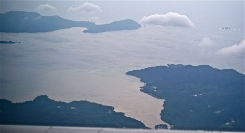 """""""Mouth of Ulugan Bay (upper-right). The three islands at the mouth are Tres Marias."""" retirednoway"""