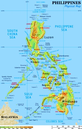"""Physical Map of the Philippines (courtesy: WikiMedia / Wikipedia)"" retirednoway"