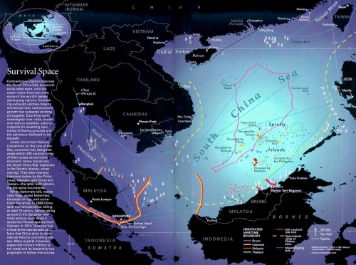 """South China Sea showing competing assets and potential points of conflict (hwebb.freeservers.com)"" retirednoway"