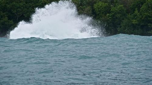"""Waves shatter against underwater rock formations"" retirednoway"