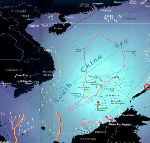 """Ulugan Bay is encircled in red"" retirednoway"
