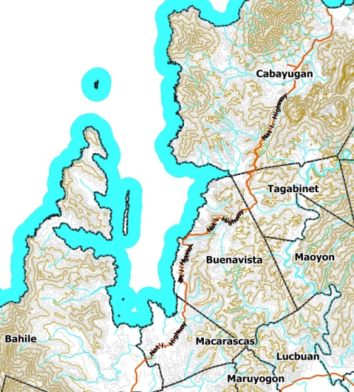 """Ulugan Bay and the surrounding barangays(north is at the top)."" retirednoway"