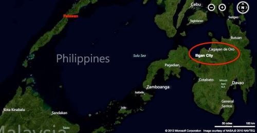 """Cagayan de Oro and Iligan City shown in relation to Palawan"" retirednoway"