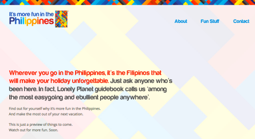 """It's more fun in the Philippines! The website operated by the country's Department of Tourism"" retirednoway"