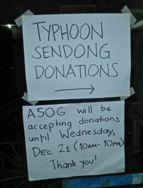"""Follow the signs. (ASOG stands for the building that was being used to collect and organize the donations.)"" retirednoway"