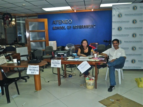 """Volunteers manning the temporary disaster relief office at ASOG"" retirednoway"