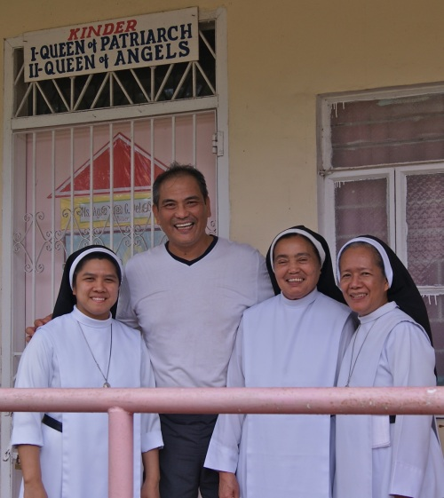 """Cooper with the nuns. I stand 1.83 meters (6-feet) tall."" retirednoway"
