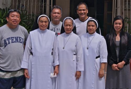 """Formal pose. L-to-R: Kristi, Benjo, Cooper, Sister Hola, Sister Aveline, Sister Felma, Abby"" retirednoway"