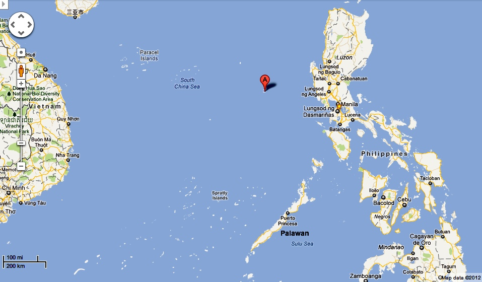 "Scarborough Shoal's location is marked by the ""A"" pin. Note its"