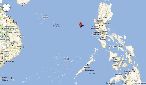 """Scarborough Shoal's location is marked by the ""A"" pin. Note its proximity to the Philippines. (China isn't even in the map.)"" retirednoway"