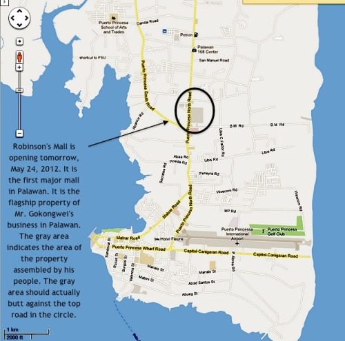 """Gokongwei's property (encircled) is in barangay San Manuel. Puerto Princesa's city fathers want the city to do much of its growing in barangay San Manuel and its neighboring barangays."" retirednoway"