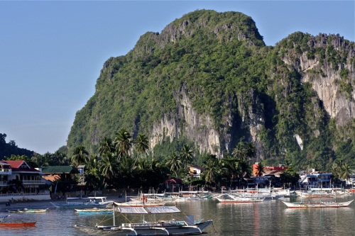 """The area around El Nido is marked by large karst limestone formations. Here's one at the southern end of town"" retirednoway"
