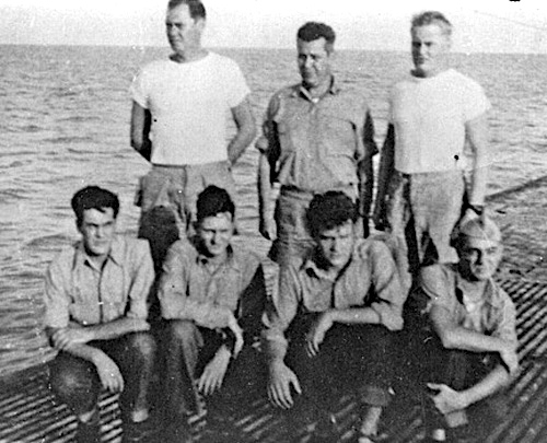 """Survivors of the sinking of the SS Flier in August 1944 CREDIT http://www.navsource.org/archives/08/0825000.jpg"" retirednoway"
