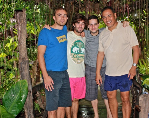 Nicolas, Adrien, Thomas, Alex after a late lunch at Balinsasayaw Restaurant.