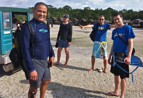 """At 0830, Alex, Brian Roh, Nico, and Thomas are getting ready to dive."" retirednoway"