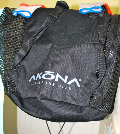 """My Akona gear bag. It's a mesh bag that can be carried like a duffel or a backpack. It's great!"" retirednoway"