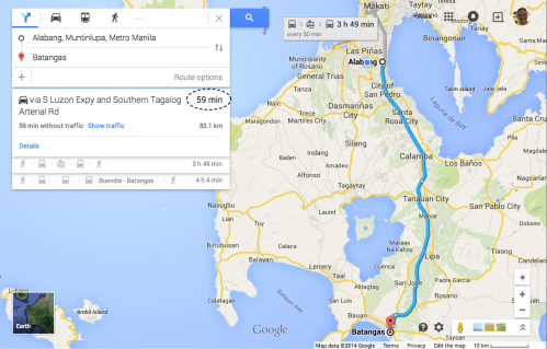 retirednoway, The bus trip from Alabang to Batangas City currently takes 60 to 75 minutes. (Dec 2014)