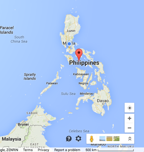 "retirednoway, ""Romblon (marked with the green pin) is near the geographic center of the Philippines"""