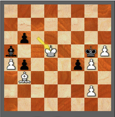 Black's bishop is jailed. How often do you see this? This is the final position of a game between two of the current best players in the world.